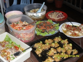 Buffet table of food
