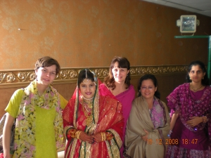 Posing with Indian bride