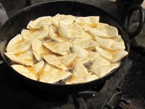 Frying Samosas